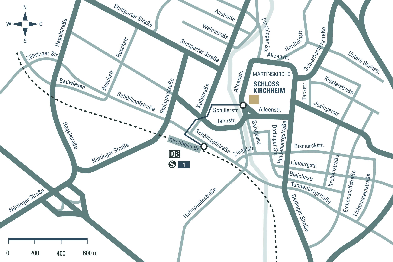 Anfahrtsskizze zum Schloss Kirchheim; Entwurf: Staatliche Schlösser und Gärten Baden-Württemberg, JUNG:Kommunikation