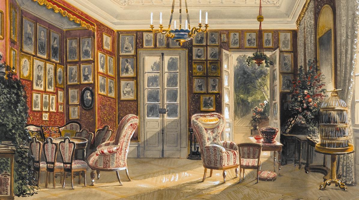 Sommersalon, Aquarell von Pieter Francis Peters, 1857; Foto: Staatsgalerie Stuttgart