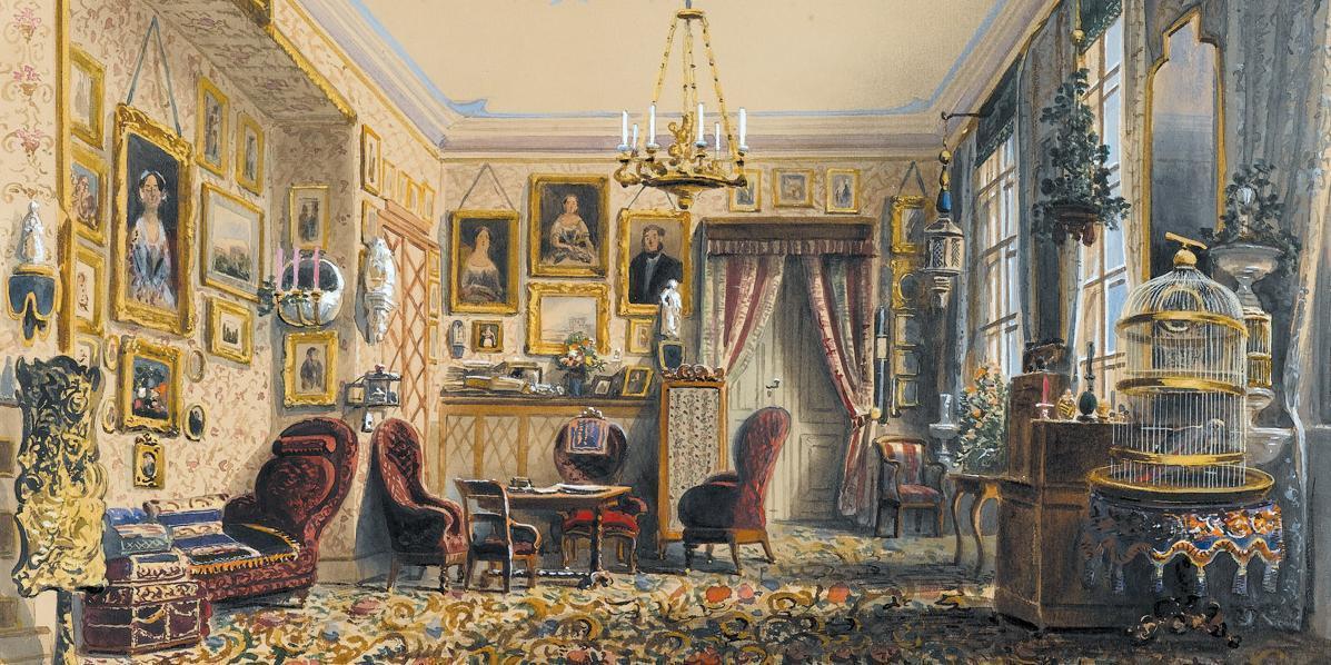 Das Wohnzimmer mit seiner Einrichtung 1852; Foto: Staatsgalerie Stuttgart
