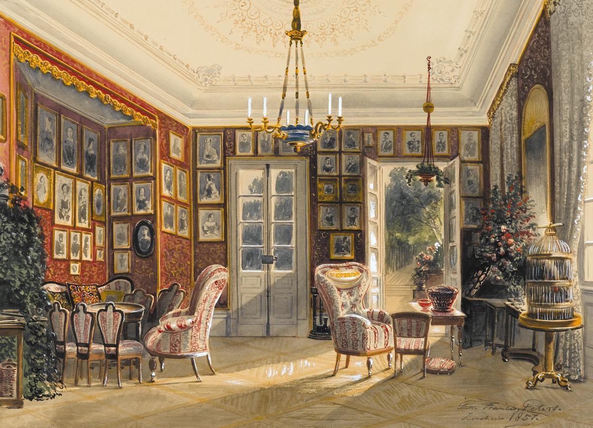Summer salon, watercolor by Pieter Francis Peters, 1857. Image: Staatsgalerie Stuttgart