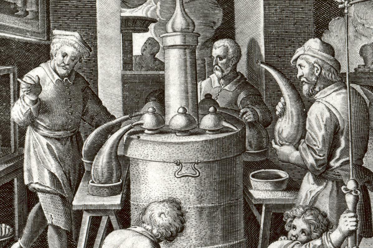 Alchemists at work: picture of the distilling room, copper engraving, circa 1580