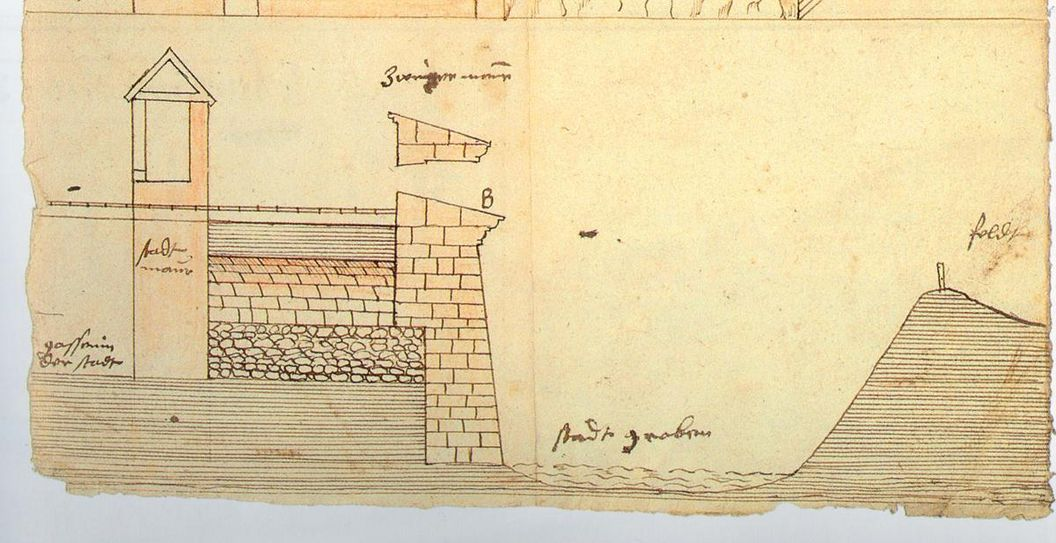 Cross-section drawing of the town wall, moat with water, wall and balustrades by Bavarian artist Georg Stern.