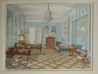 Watercolor of the living room circa 1825. Image: Staatliche Schlösser und Gärten Baden-Württemberg, credit unknown