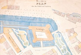 Drawing of the pleasure garden and winding paths at Kirchheim Palace