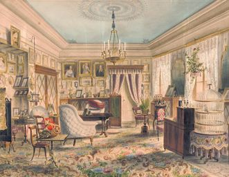 Living room and furnishings, 1857. Image: Städtisches Museum Ludwigsburg