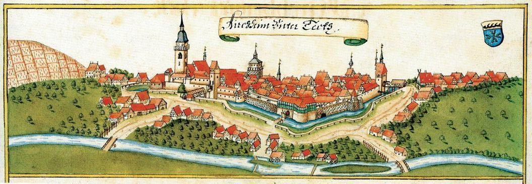Kirchheim unter Teck, by Andreas Kieser, 1683. Image: Wikipedia, public