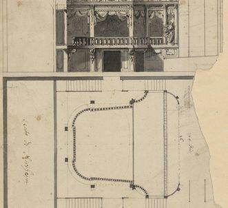 Plans for the unbuilt theater at Kirchheim Palace
