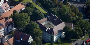 Aerial view of Kirchheim Palace with casemates and bastion
