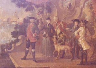 Herzog Carl Eugen und Franziska von Hohenheim mit Hofstaat beim Scheibenschießen am Schloss Kirchheim; Foto: SWR, Gisela Reich