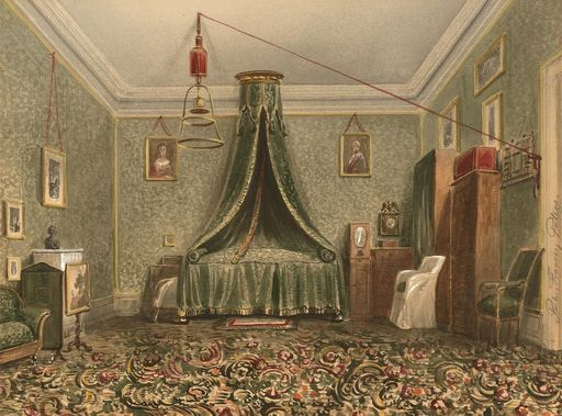 Bedroom, 1850s watercolor