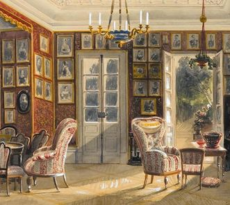 Watercolor of garden room at Kirchheim Palace, Pieter Francis Peters, 1857. Image: Staatsgalerie Stuttgart