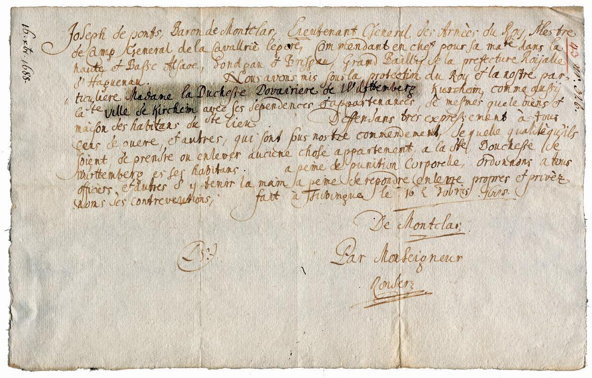 Writ of protection from 1688